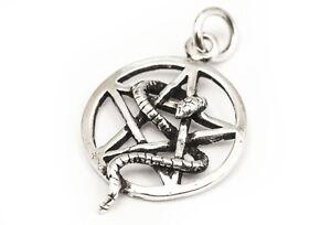 Saria-Schlange-amp-Pentagramm-Anhaenger-925er-Silber-Schmuck-Neu