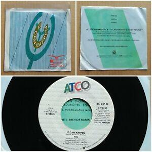 "YES It Can Happen 45 7"" PROG POP ROCK Record Vinyl 1984 ATCO Records"