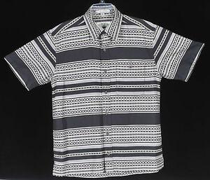 Orvis-Camp-Short-Sleeve-Cotton-Shirt-Mens-M-Aloha-Black