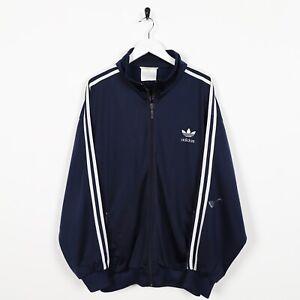 Vintage-80s-Adidas-Piccolo-Logo-Pista-Giacca-Blu-Navy-Grande-L