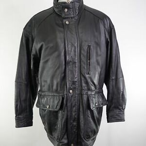 MEMBERS-ONLY-FULL-ZIP-UP-BLACK-LEATHER-JACKET-MENS-SIZE-L