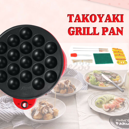 18 Hole Electric Octopus Ball Grill Pan Maker Stove Cook Plate 650W Takoyaki