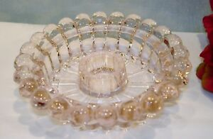 """40s 50s 60s Glass Bubble Pink Candle Holder 4 1/4"""" dia."""