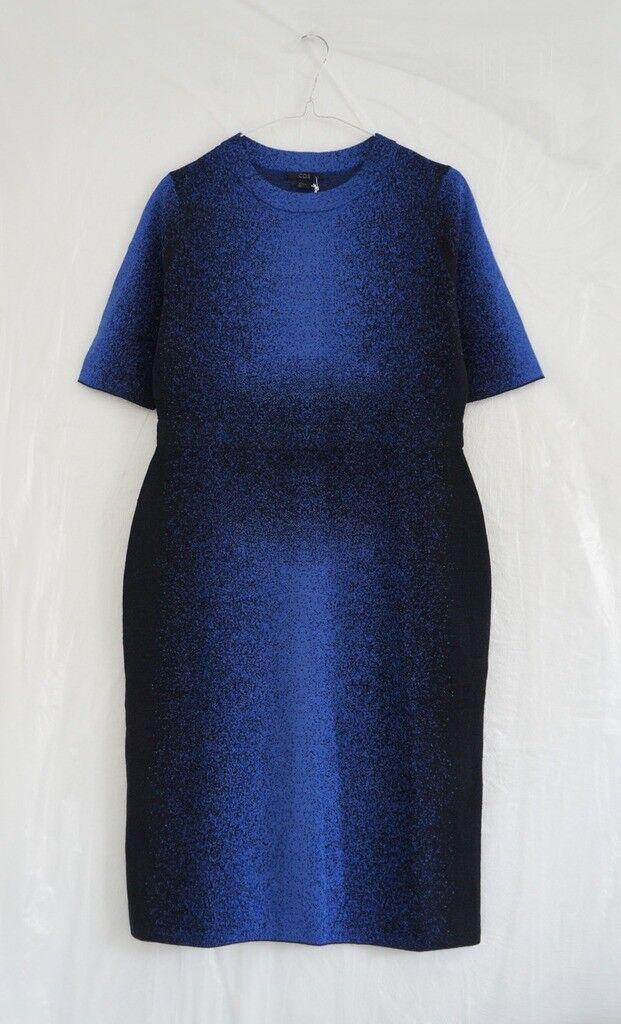 Hof115  cos abito a Maglia Lana Blu Nero WOOL JACQUARD DRESS blu nero S