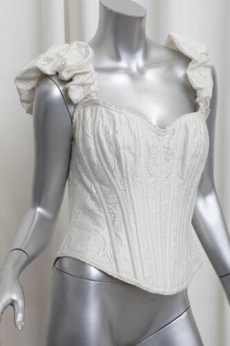 Vintage L Blouse Cadolle Corset Ivory Silk Bustier Top Womens geborduurde 4RLq53Aj