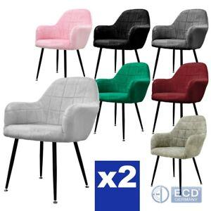 Esszimmerstuhl-Wohnzimmerstuhl-Kuechenstuhl-Design-Lounge-Stuhl-Samt-2er-Set