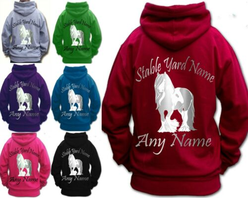 PERSONALISED HORSE RIDING HOODIE traditional SILVER GYPSY COB VANNER HEAVY HORSE