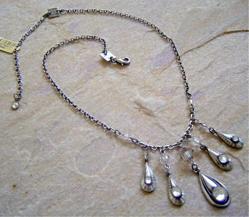 antique silver KONPLOTT Kette Teardrops crystal