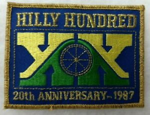 =HILLY HUNDRED EMBROIDERED PATCH XX/20th New/Indiana Bicycle/CIBA/October 1987=