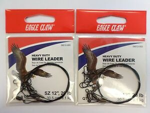 """FREE SHIPPING Package of 6 45 lbs 18/"""" Eagle Claw Heavy Duty Wire Leaders"""