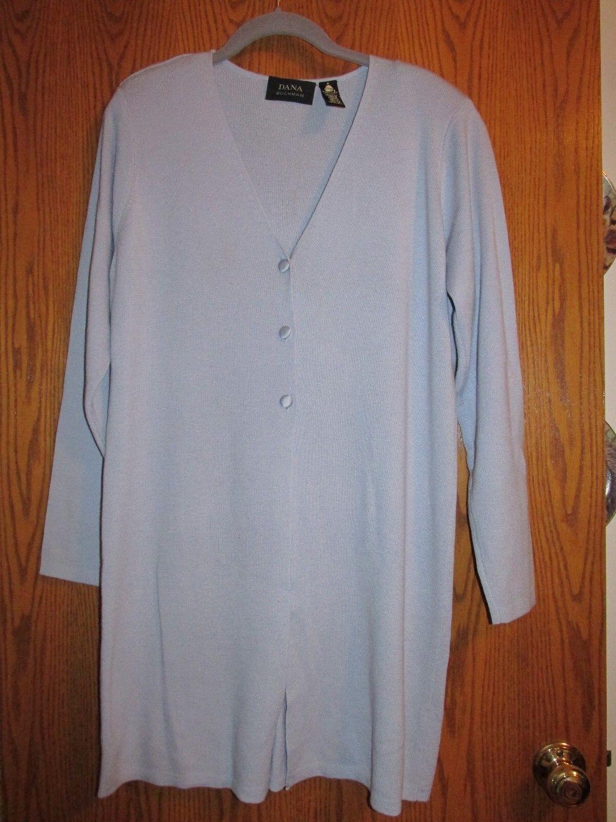 Dana Buchman 100%merino Wolle,3 Taste-front cardigan duster - Medium - Baby Blau