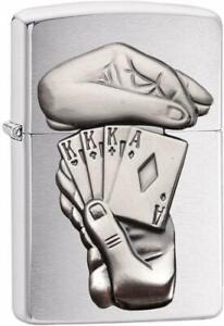 ZIPPO-Trick-Poker-Chrome-Gebuerstet-Feuerzeug-Das-Original-60003270