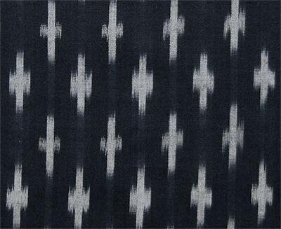 Fine, Black, Ikat Cotton. Light, Hand-Woven, Artisan Fabric. India Homespun