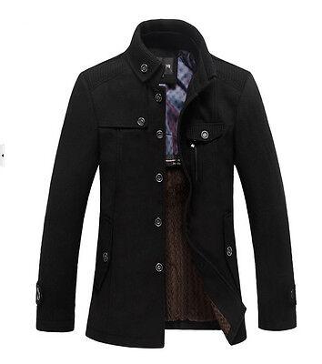 New Classic Mens Winter Warm Fleece Blazer Wool Military Coat Jacket Grey Black