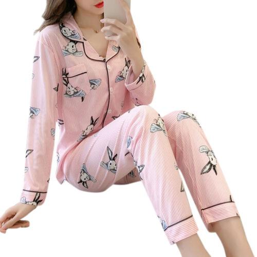 Womens Pajamas Set Floral Printed Sleepwear V-Neck Long Sleeve Cardigan Homewear