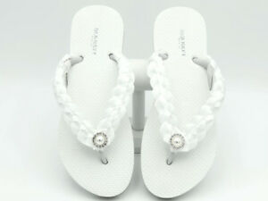 1e4972fc4fb55 White Bridal Flip Flops Flower Girl Flip Flops Beach Wedding Flip ...