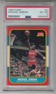 DR: 1986 Fleer Basketball Card #57 Michael Jordan Rookie Chicago Bulls - PSA 6