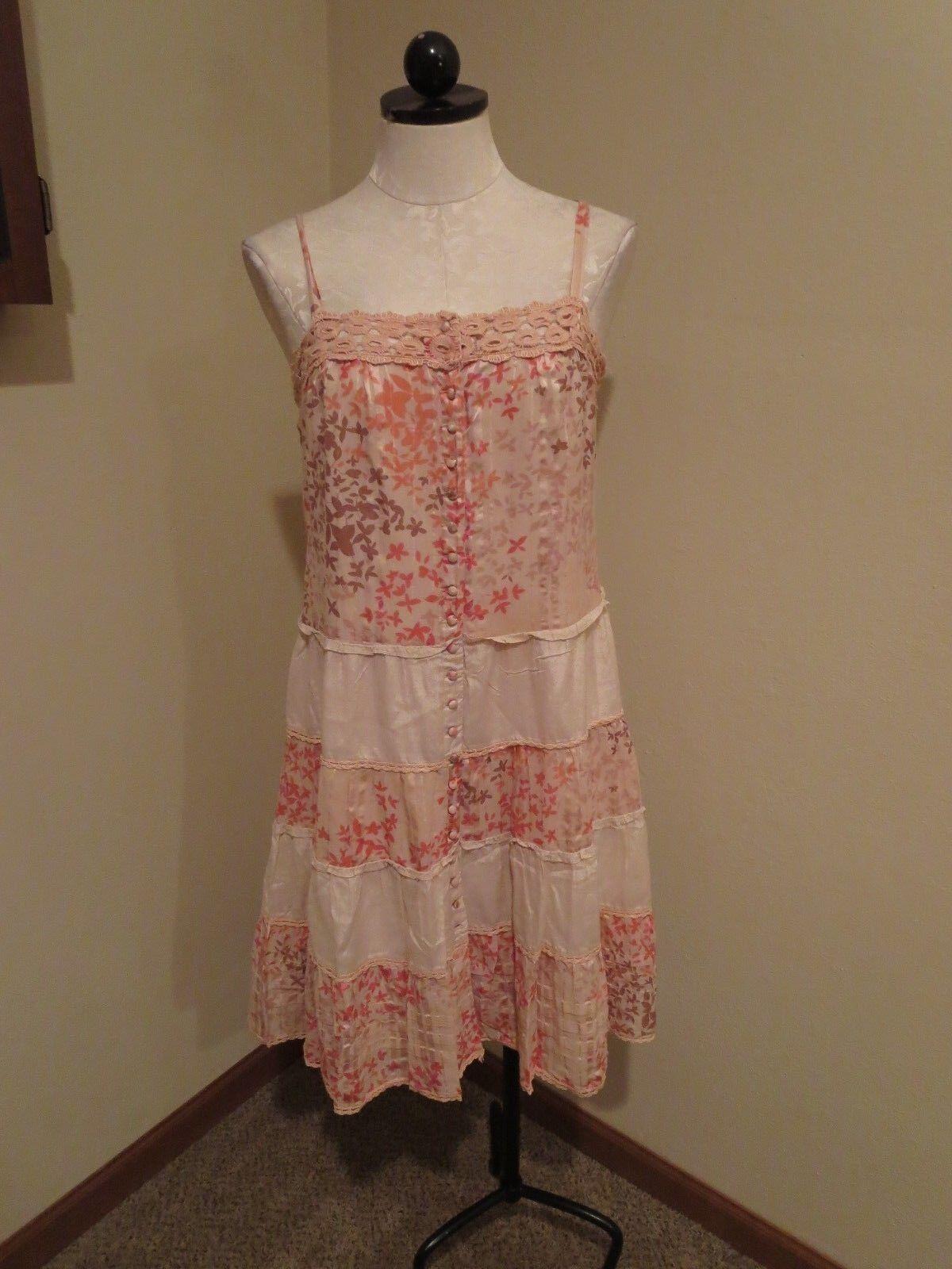BCBG MaxAzria tiered peasant dress crochet trim floral print sz small