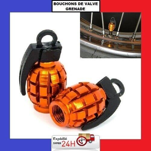 expédition sous 24h couleur orange Bouchons de valve grenade lot de 2