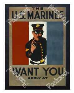 Historic-WWI-Recrutiment-Poster-The-U-S-Marines-want-you-Postcard