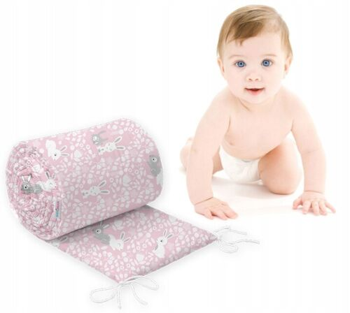 Rembourré Anti-Chocs pour s/'adapter à Berceau Bébé Nurserie tout rond 100/% coton 260 cm Bunny Rose