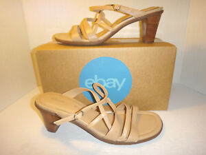 909f271230b60 Image is loading ECCO-Tan-Leather-Strappy-Heel-Sandals-Women-039-
