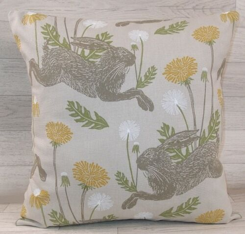 Same Fabric Both Sides Ochre // Linen March Hares Handmade Cushion Cover