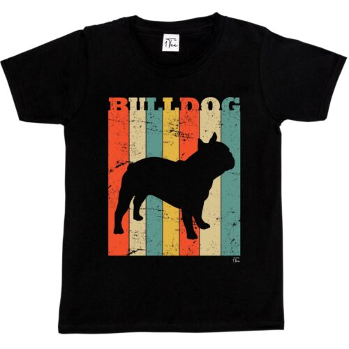 1Tee Kids Boys Bulldog Dog Breed Colourful Retro T-Shirt