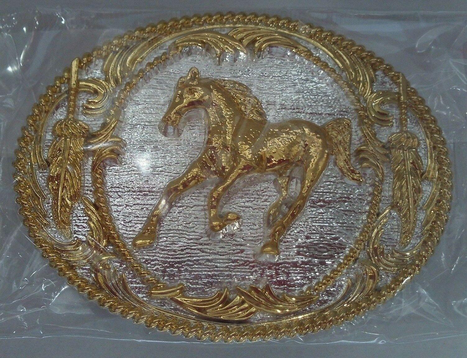 ! nuevo! Plata Y Oro cabalgando Caballo Hebilla de cinturón con adorno de oro de plumas 3 3/4