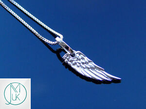 Solid-925-Sterling-Silver-Beautiful-Angel-Wing-Small-Charm-Luck-Pendant-Necklace