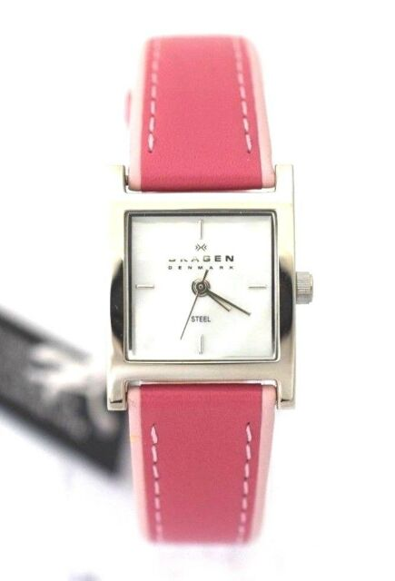 SKAGEN WOMEN 528SSLP Mother of Pearl Square Dial Pink Leather Retail $95.00