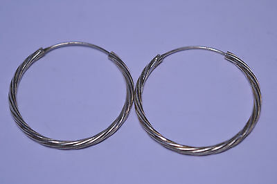 STERLING SILVER LARGE 1.75 INCH IN DIAMETER TWIST ENDLESS HOOP PIERCED EARRINGS