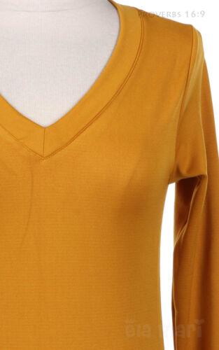 Women/'s Basic Stretchable Solid Plain V Neck Long Sleeve T Shirt Top