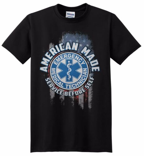 EMT American Made EMERGENCY MEDICAL TECHNICIAN SERVICE BEFORE SELF T-shirts NEW