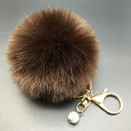 Faux Rabbit Fur Fluffy Pompom Ball Handbag Car Pendant Charm Key Chain Keyring