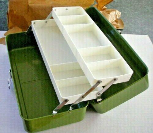 1960/'s NOS UNION 4413 Green Metal FISHING Tackle Box UNUSED Fantastic Original