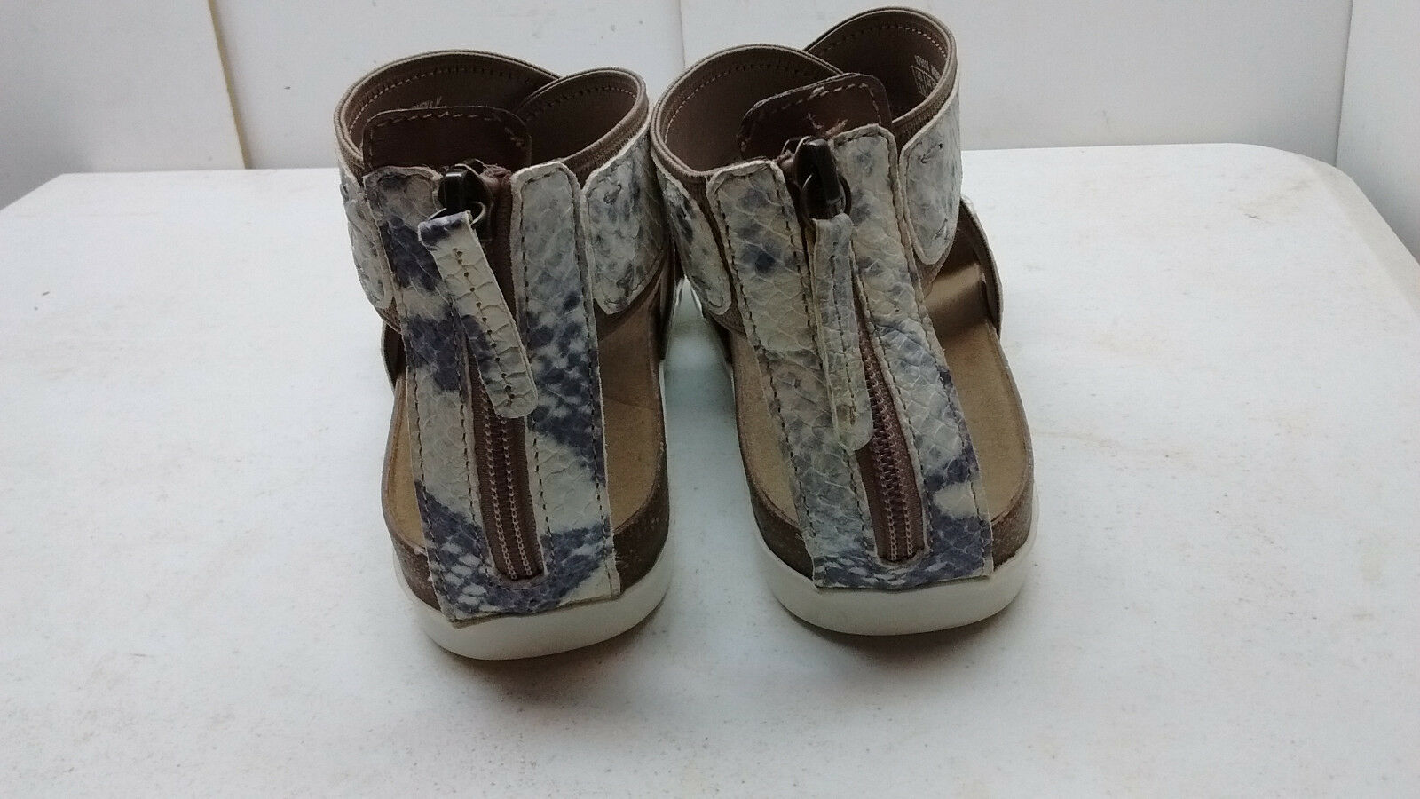 Rockport Women White Animal Print Leather Zip Zip Zip Gladiator Sandal shoes Size 6.5M 37 b51e42