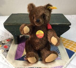 Steiff Stuffed Animal, Teddy Bear, Germany, Brown, Mohair Wool, 0206/26