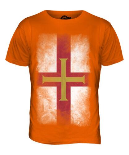 GUERNSEY FADED FLAG MENS T-SHIRT TEE TOP FOOTBALL GIFT SHIRT CLOTHING JERSEY