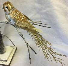 26cm Gold Silver Sequin Glitter Bird Decoration Christmas Tree Vintage Ornate