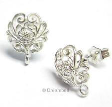 2x Bright STERLING SILVER Filigree FLOWER Stud earrings loop post w/ Clutches