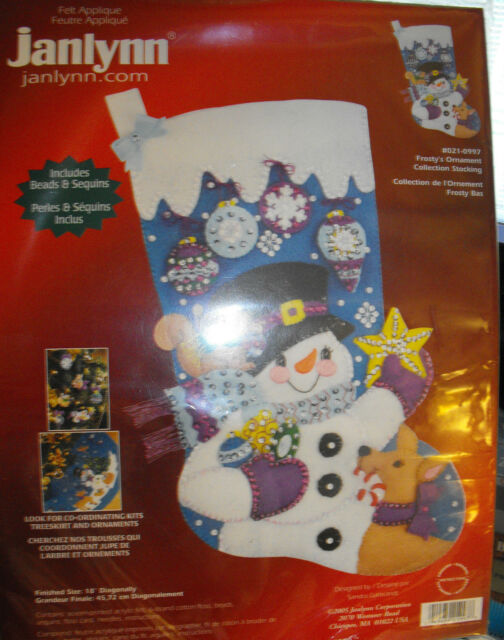 """Janlynn Felt Applique 18"""" Frosty's Ornament Collection Christmas Stocking Sealed"""
