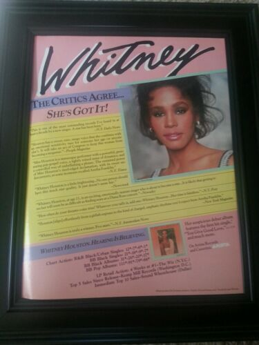 Whitney Houston Debut Critics Promo Poster Ad Framed! Printed Once!
