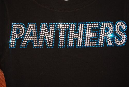 Panthers Rhinestone Bling  shirt XS S M L XL XXL 3X 4X 5X