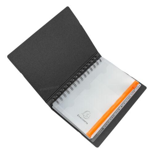 Black A5 Spiral A-Z Tab 120 Business Card Organiser Holder Elastic Book Office