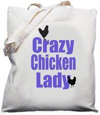 Crazy Chicken Lady - Natural (Cream) Cotton Shoulder Bag
