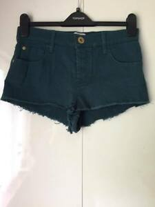River-Island-Denim-Teal-Blue-Green-Plain-Distressed-Hotpants-Shorts-UK-12