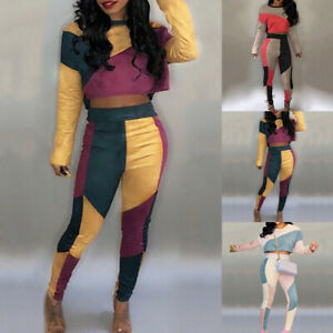 Womens-Patchwork-2PCS-Jumpsuits-Long-Sleeve-Crop-Tops-Pants-Outfit-Tracksuits-US
