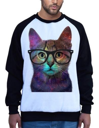 Men/'s Galaxy Nerd Cat White Raglan Sweatshirt Space Fantasy Glasses Kitten B660