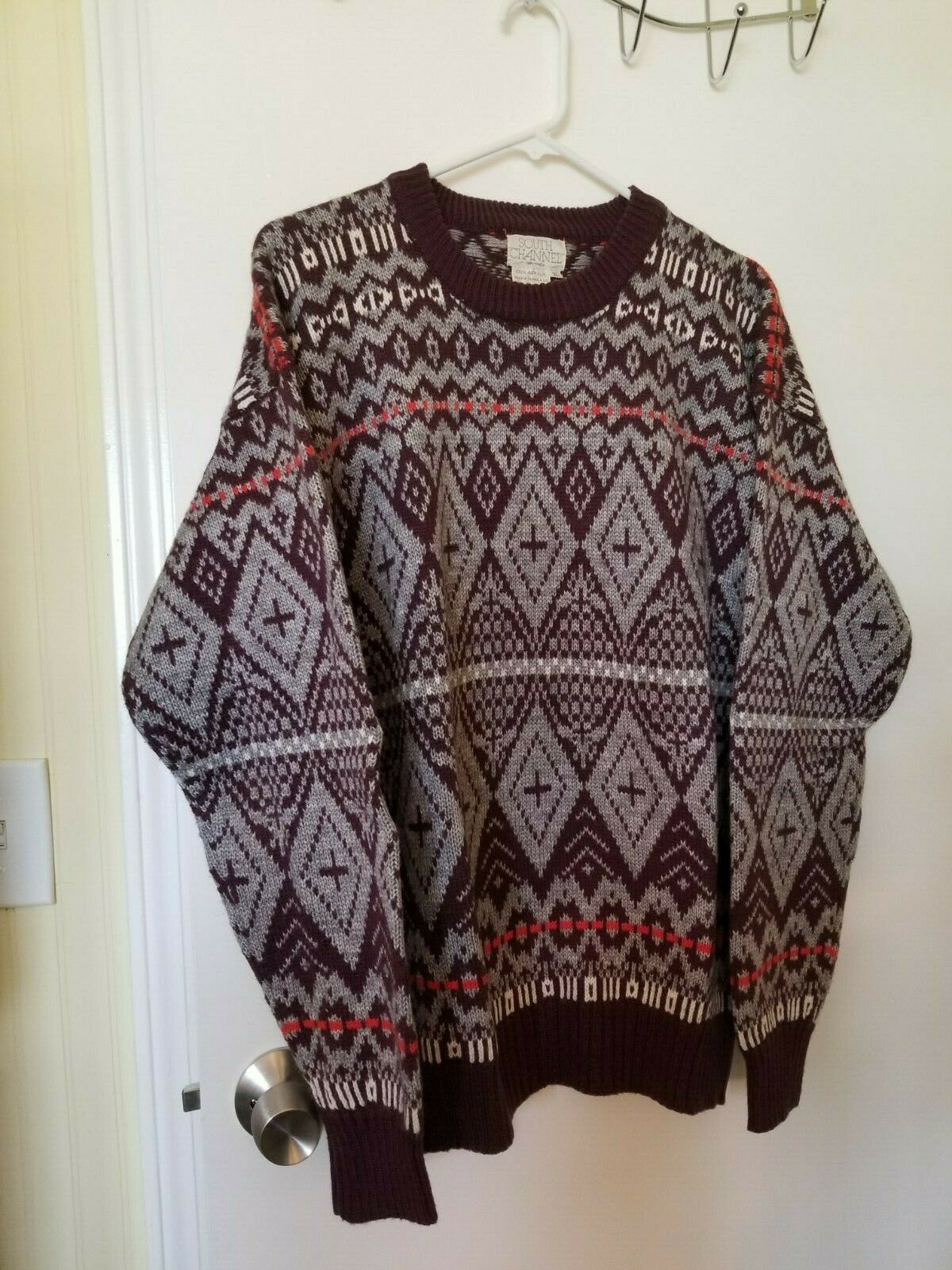 Vintage South Channel Pullover Ski Sweater Burgundy, Gray, Ivory, Red Sz XL